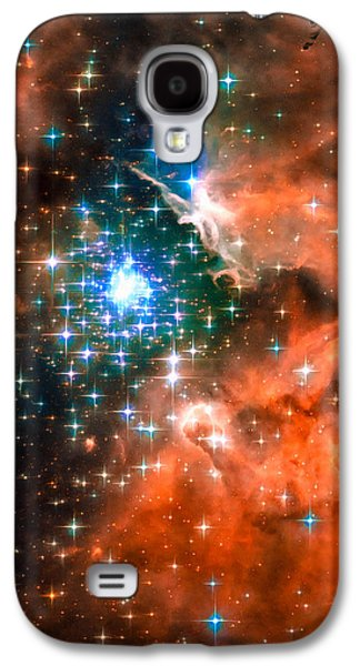 Digital Galaxy S4 Cases - Space image star cluster orange blue Galaxy S4 Case by Matthias Hauser