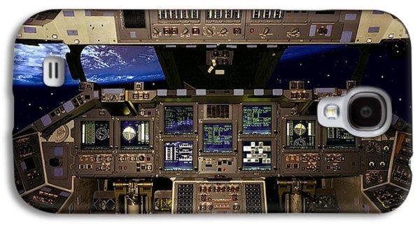 Cockpit Photographs Galaxy S4 Cases - Space Shuttle Pilot Command Console Galaxy S4 Case by Daniel Hagerman
