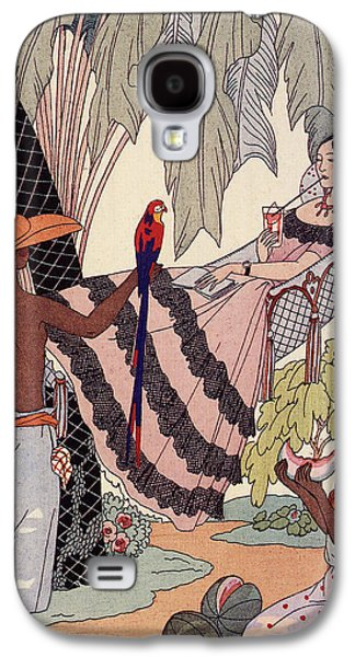 Lounge Drawings Galaxy S4 Cases - Spanish Lady In Hammock With Parrot Galaxy S4 Case by Georges Barbier