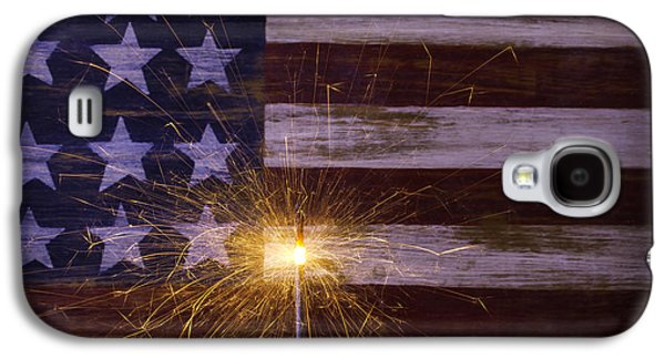 4th July Galaxy S4 Cases - Sparkler With American Flag Galaxy S4 Case by Garry Gay