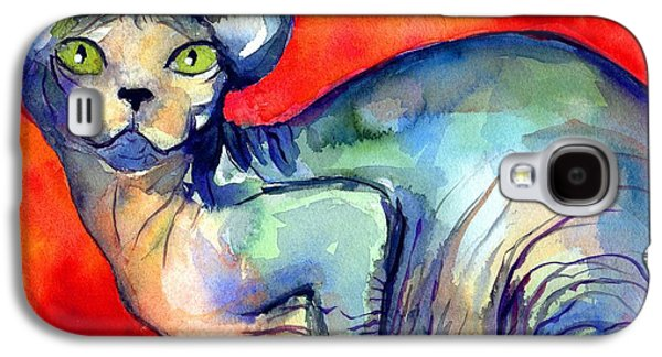 Austin Drawings Galaxy S4 Cases - Sphynx Cat 6 painting Galaxy S4 Case by Svetlana Novikova