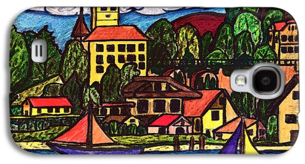 Switzerland Drawings Galaxy S4 Cases - Based on Spiez Switzerland Galaxy S4 Case by Monica Engeler