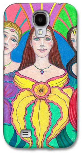 Religious Drawings Galaxy S4 Cases - Spirit Guides Cassandra Zoe and Ariana Galaxy S4 Case by Debra A Hitchcock