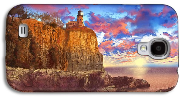 Surreal Landscape Digital Art Galaxy S4 Cases - Split Rock Lighthouse Galaxy S4 Case by MB Art factory