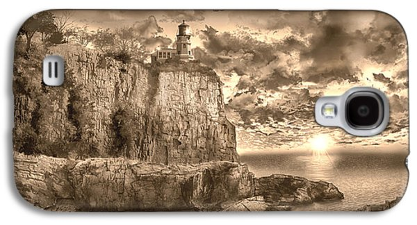 Surreal Landscape Galaxy S4 Cases - Split Rock Lighthouse Sepia Galaxy S4 Case by MB Art factory