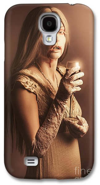 Spooky Vampire Girl Drinking A Glass Of Red Wine Galaxy S4 Case by Jorgo Photography - Wall Art Gallery