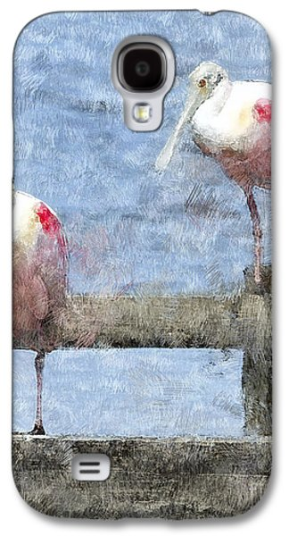 Spoonbills Hanging Out Galaxy S4 Case by Betty LaRue