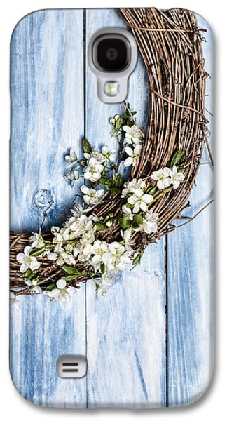 Wooden Door Galaxy S4 Cases - Spring Blossom Wreath Galaxy S4 Case by Amanda And Christopher Elwell