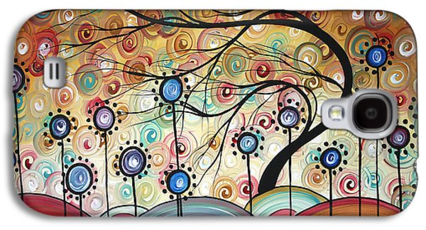 Abstract Landscape Galaxy S4 Cases - Spring Flowers Original Painting MADART Galaxy S4 Case by Megan Duncanson
