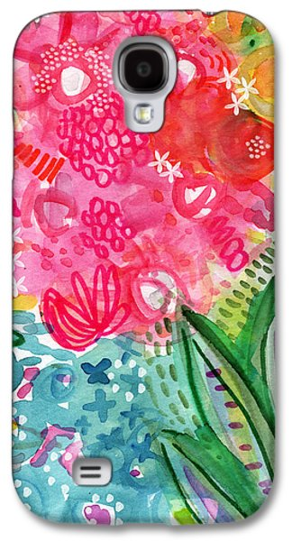 Nature Abstracts Mixed Media Galaxy S4 Cases - Spring Garden- watercolor art Galaxy S4 Case by Linda Woods