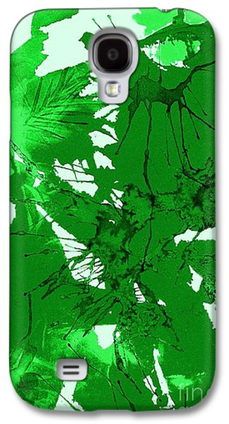 Splashy Paintings Galaxy S4 Cases - Spring Green Explosion - Abstract Galaxy S4 Case by Ellen Levinson
