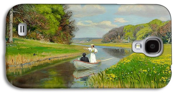 Boats In Water Paintings Galaxy S4 Cases - Spring Galaxy S4 Case by Celestial Images