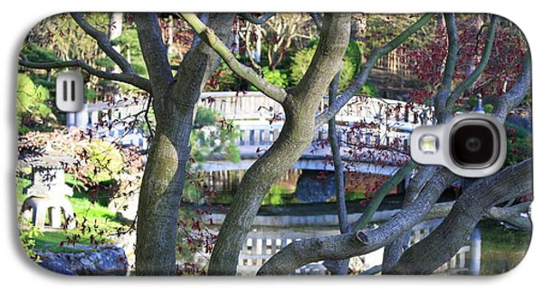 Pond In Park Galaxy S4 Cases - Springtime Bridge through Japanese Maple Tree Galaxy S4 Case by Carol Groenen