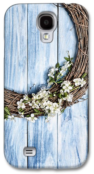 Wooden Door Galaxy S4 Cases - Springtime Wreath Galaxy S4 Case by Amanda And Christopher Elwell