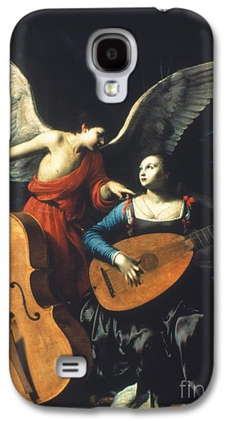 Lute Paintings Galaxy S4 Cases - St. Cecilia And The Angel Galaxy S4 Case by Granger