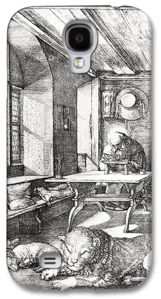 Religious Drawings Galaxy S4 Cases - St Jerome In His Study Galaxy S4 Case by Albrecht Durer or Duerer