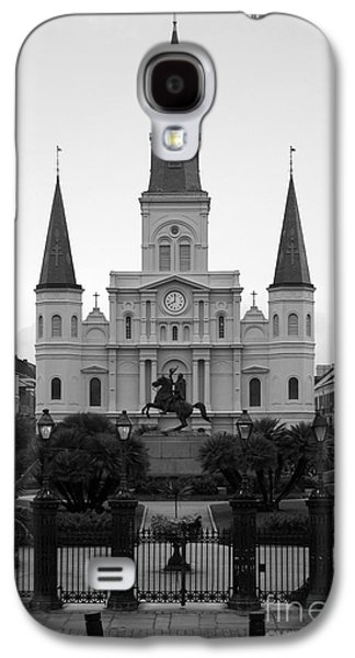 Recently Sold -  - Statue Portrait Galaxy S4 Cases - St Louis Cathedral on Jackson Square in the French Quarter New Orleans Black and White Galaxy S4 Case by Shawn O