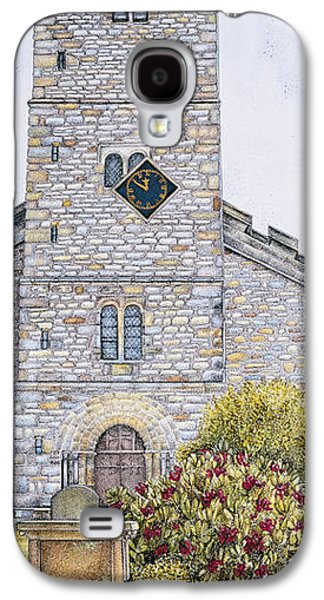 Church Drawings Galaxy S4 Cases - St Marys Church Clock  Kirkby Lonsdale  Cumbria Galaxy S4 Case by Sandra Moore