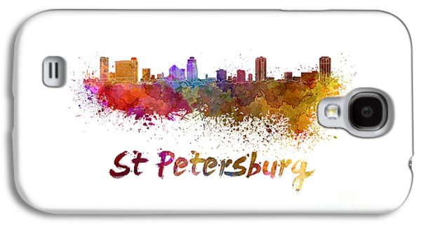 Colorful Abstract Galaxy S4 Cases - St Petersburg FL skyline in watercolor Galaxy S4 Case by Pablo Romero