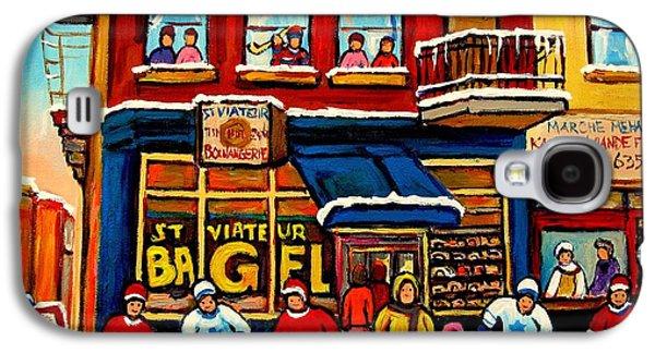 Montreal Buildings Paintings Galaxy S4 Cases - St. Viateur Bagel Hockey Practice Galaxy S4 Case by Carole Spandau