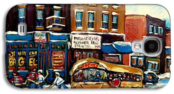 Canadian Heritage Paintings Galaxy S4 Cases - St. Viateur Bagel With Hockey Bus  Galaxy S4 Case by Carole Spandau