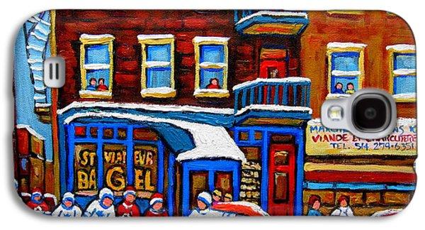 After School Hockey Paintings Galaxy S4 Cases - St Viateur Bagel With Hockey Montreal Winter Street Scene Galaxy S4 Case by Carole Spandau
