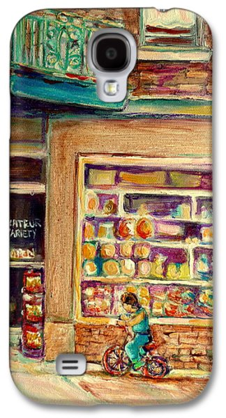 Montreal Storefronts Paintings Galaxy S4 Cases - St Viateur Street Montreal  Galaxy S4 Case by Carole Spandau