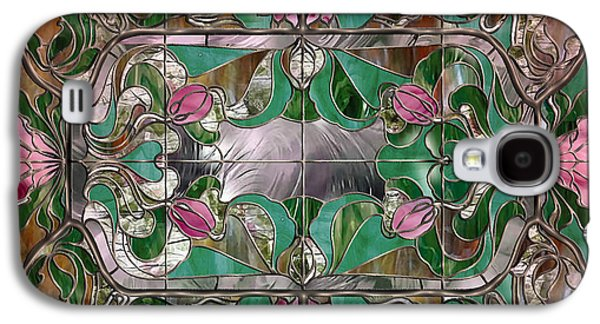 Depression Paintings Galaxy S4 Cases - Stained Glass Art Nouveau Window Galaxy S4 Case by Mindy Sommers