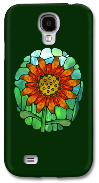 Digital Glass Galaxy S4 Cases - Stained Glass Flower Transparent Galaxy S4 Case by Wendy Rickwalt
