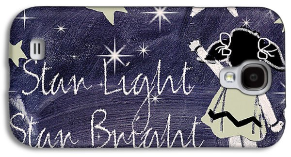 Mother Goose Galaxy S4 Cases - Star Light Star Bright Chalk Board Nursery Rhyme Galaxy S4 Case by Mindy Sommers