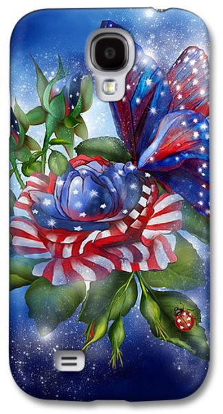 4th July Mixed Media Galaxy S4 Cases - Star Spangled Butterfly Galaxy S4 Case by Carol Cavalaris