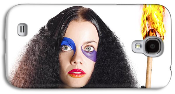 Mystifying Galaxy S4 Cases - Staring woman holding flame torch Galaxy S4 Case by Ryan Jorgensen