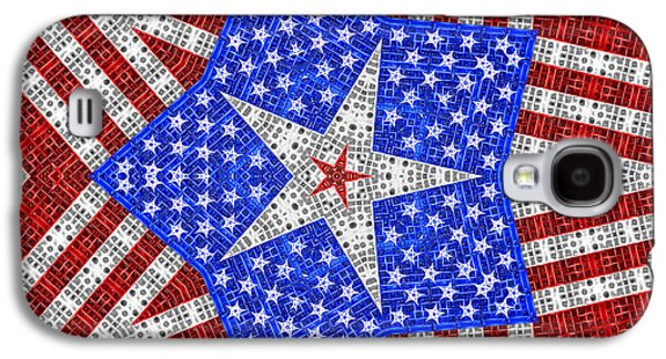 Colorful Abstract Galaxy S4 Cases - Stars and Stripes - White Star Galaxy S4 Case by Carlos Vieira