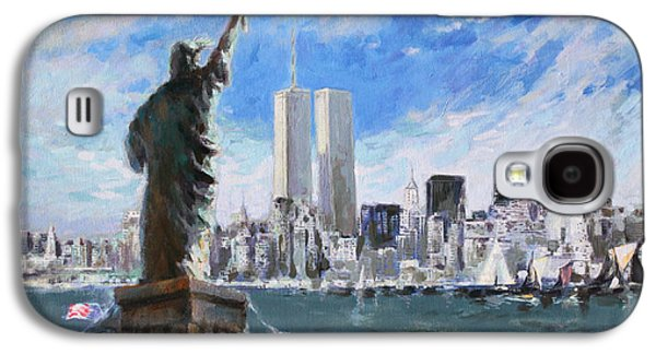 City Scape Galaxy S4 Cases - Statue of Liberty and Tween Towers Galaxy S4 Case by Ylli Haruni