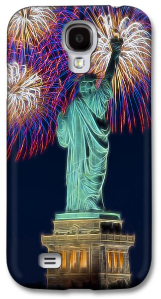 Pyrotechnics Galaxy S4 Cases - Statue Of Liberty Fireworks Galaxy S4 Case by Susan Candelario