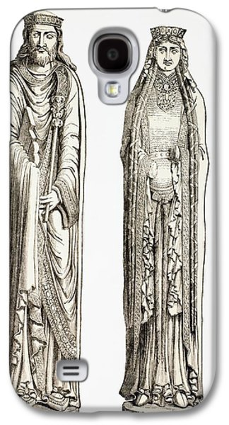 Statue Portrait Drawings Galaxy S4 Cases - Statues Of King Clovis I And His Wife Galaxy S4 Case by Ken Welsh