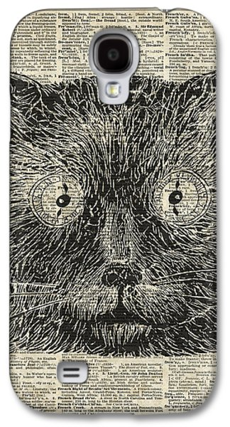 Trippy Drawings Galaxy S4 Cases - Steampunk Clock Cat eyes Galaxy S4 Case by Jacob Kuch