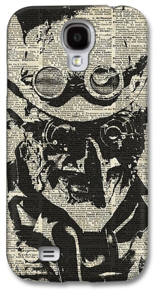 Machinery Drawings Galaxy S4 Cases - Steampunk guy Galaxy S4 Case by Jacob Kuch