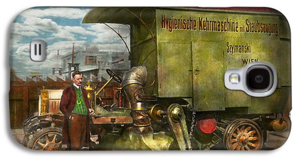 Transportation Photographs Galaxy S4 Cases - Steampunk - Street Cleaner - The hygiene machine 1910 Galaxy S4 Case by Mike Savad