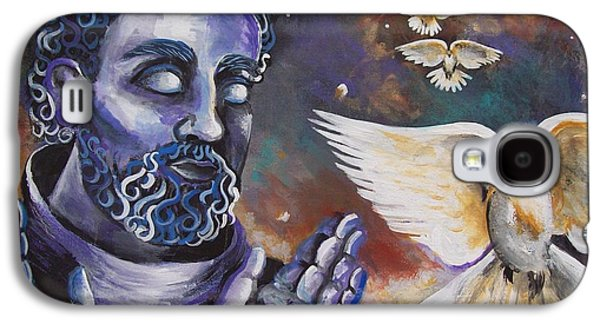Dreamscape Drawings Galaxy S4 Cases - St.Francis and the Birds Galaxy S4 Case by Olivia Candille