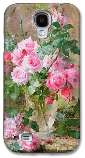 Still Life Of Roses In A Glass Vase  Galaxy S4 Case by Frans Mortelmans