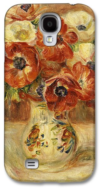 Flower Of Life Galaxy S4 Cases - Still Life with Anemones  Galaxy S4 Case by Pierre Auguste Renoir