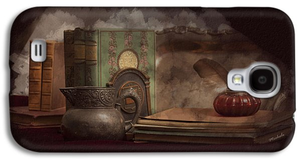 Still Life With Antique Books, Silver Pitcher And Inkwell Galaxy S4 Case by Michele Loftus