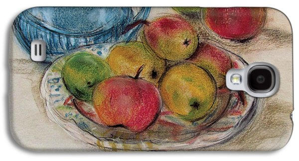 Orange Pastels Galaxy S4 Cases - Still Life with Blue Teapot 2 Galaxy S4 Case by Susan Adams