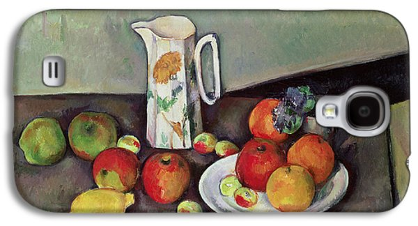 Interior Still Life Paintings Galaxy S4 Cases - Still life with milkjug and fruit Galaxy S4 Case by Paul Cezanne