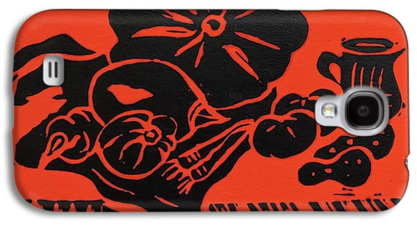 Still Life With Veg And Utensils Black On Red Galaxy S4 Case by Caroline Street