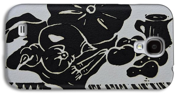 Still-life With Veg And Utensils Black On White Galaxy S4 Case by Caroline Street