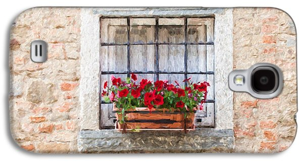 Italian Wine Paintings Galaxy S4 Cases - Stone Window of Cortona II Galaxy S4 Case by David Letts