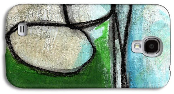 Geometric Abstract Art Galaxy S4 Cases - Stones- Green and Blue Abstract Galaxy S4 Case by Linda Woods