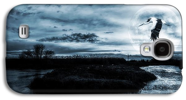 Nature Scene Digital Art Galaxy S4 Cases - Stork in Moonlight Galaxy S4 Case by Jaroslaw Grudzinski
